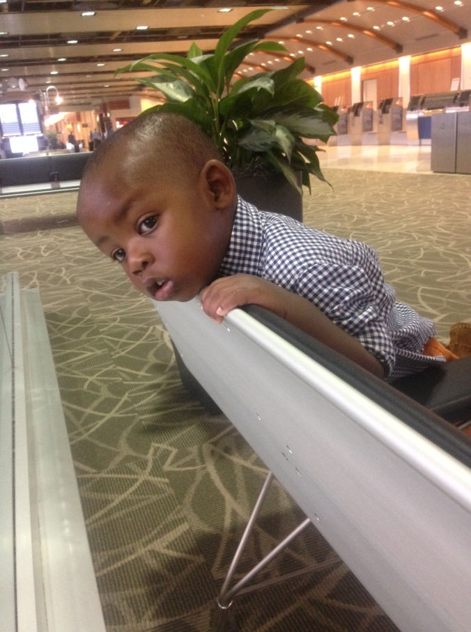 Waiting on Aunite Tracey at the airport