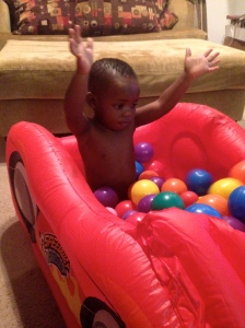 A new ball pit! Jumped in immediately after his bath!