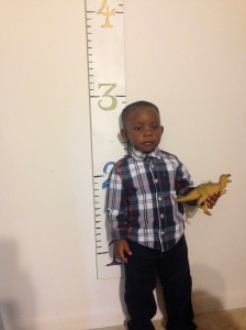 35 inches tall! Mommy's big boy!